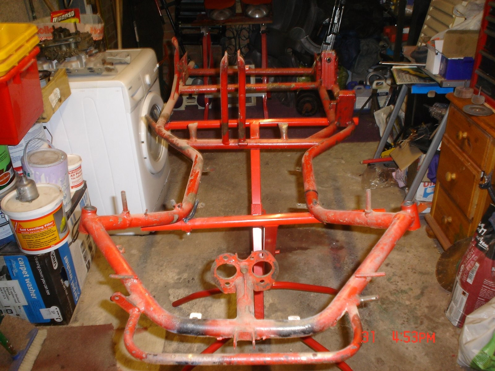 Chassis stripped of all parts