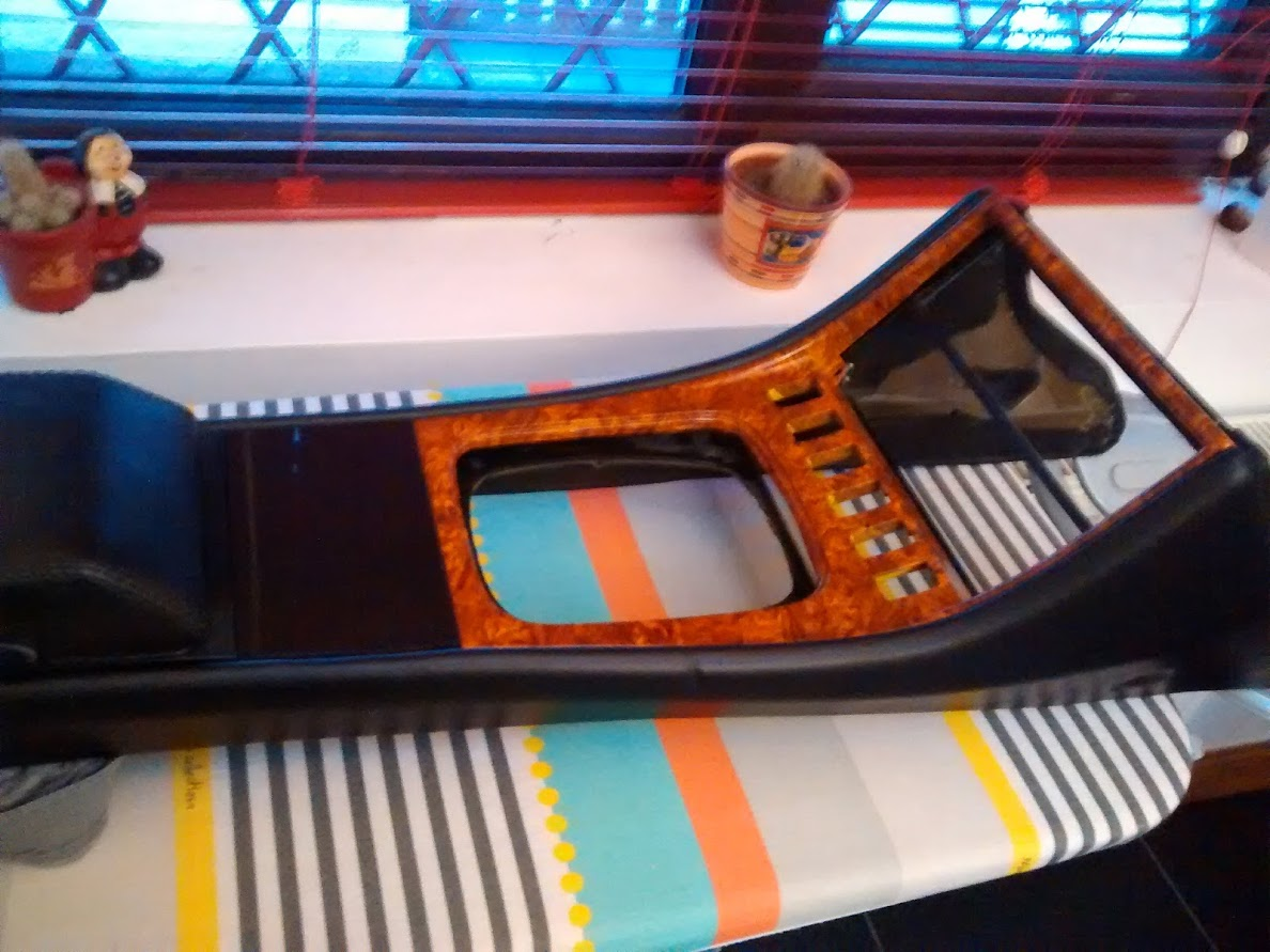 Porsche 944 console re-leatherd and hydrographip printing on plastic trim